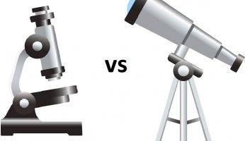 difference between telescope and microscope