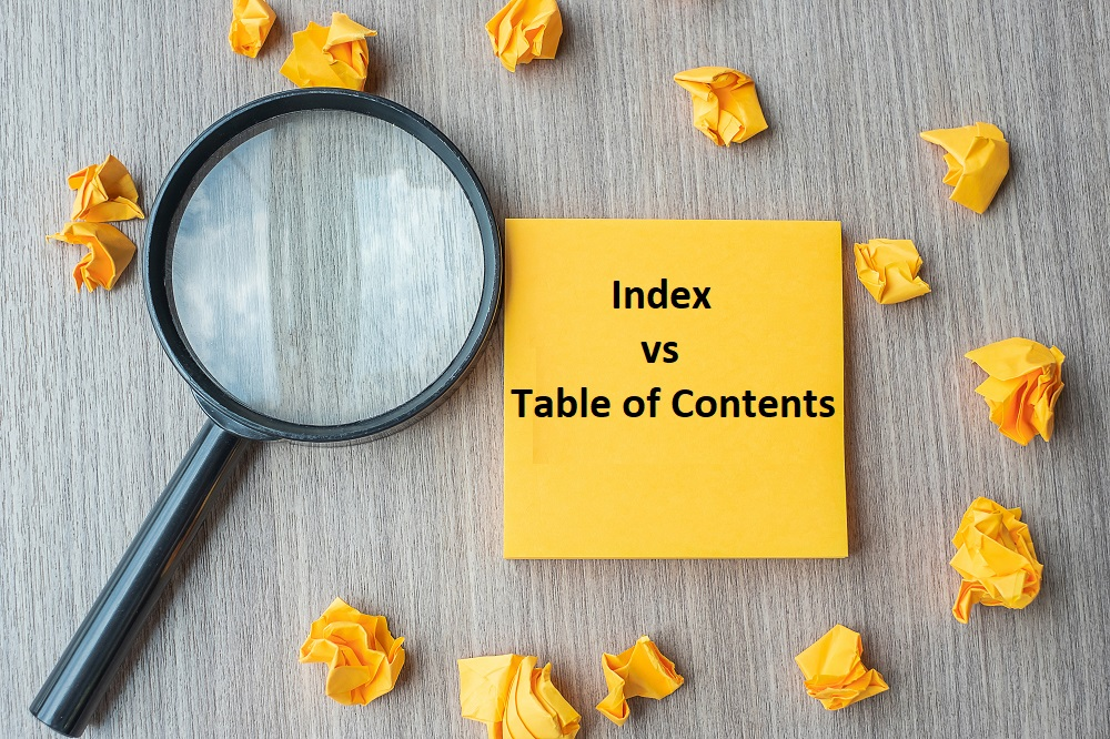 table of contents vs index